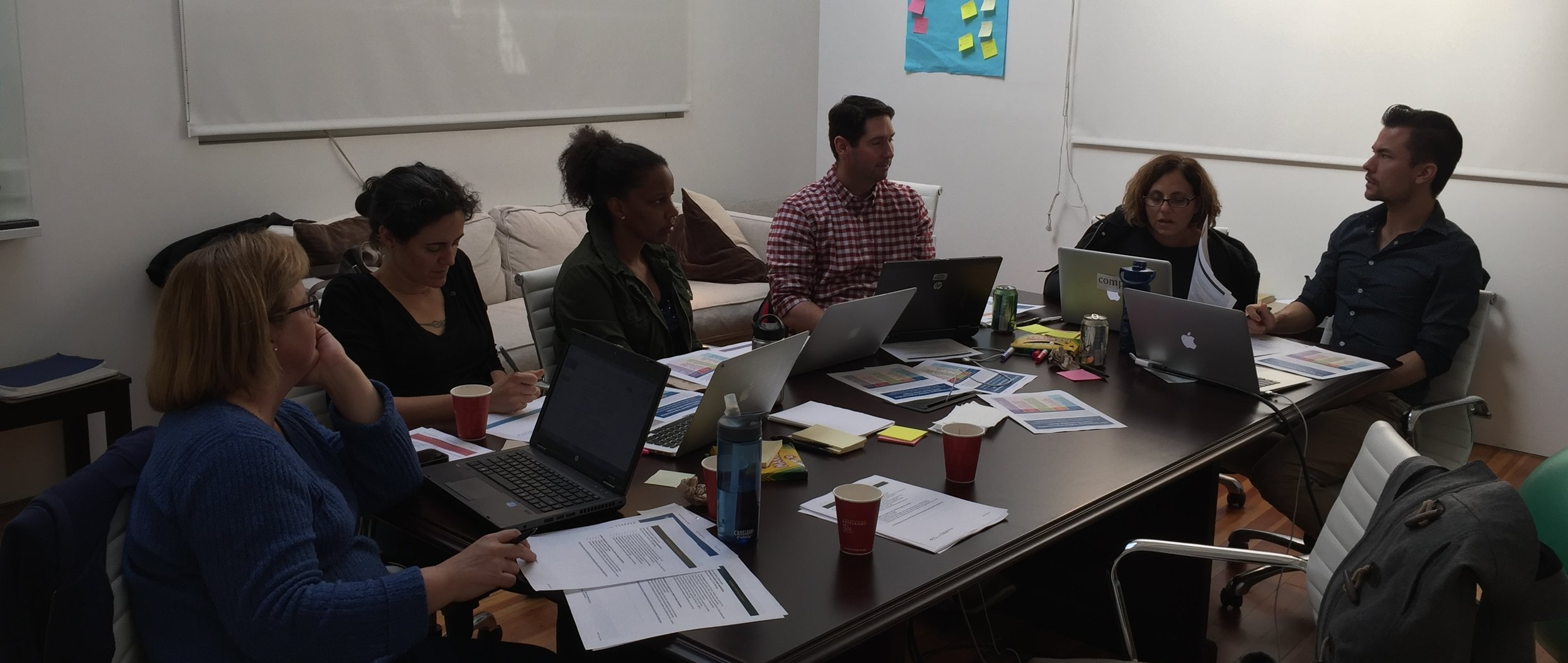 Trellis Mentor Fellows at Desmos HQ for our November work day, rehearsing mentoring with one another.