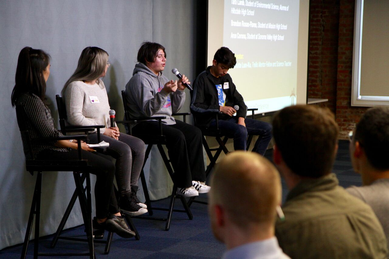 Local high school students and alumna Tara Lamb, Brandon Rosas-Flores, and Aron Corona spoke with Trellis Mentor Fellow Charlotte Lum-Ku about their experiences learning and pursuing STEM in high school and beyond.