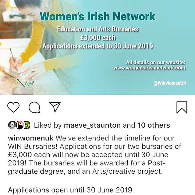 £3000 bursary for post grad or Arts/creative project! For Irish Network in London from Irish Women's Network @winwomenuk! Deadline 30 June 2019. Apply!!!!!!! #Bursary #grant #postgradfunding #funding #creativeartsfunding #artfunding #artprojectfunding