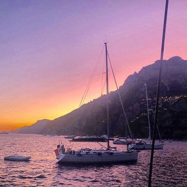 Sunset in Positano from the catamaran #bliss #yesimrelaxednow #cantbemorechill #love #familytime