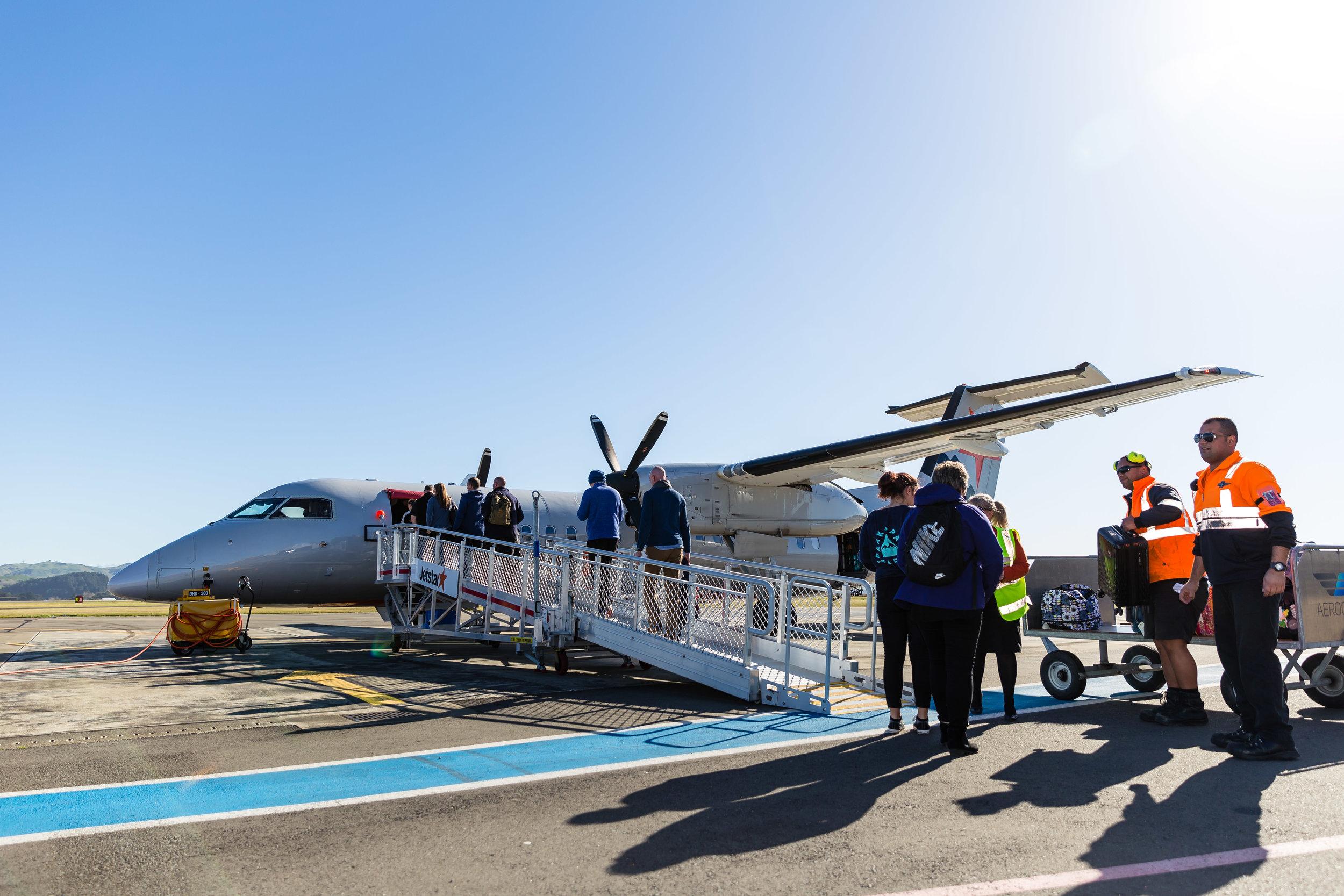 Passengers boarding a Jet Star flight