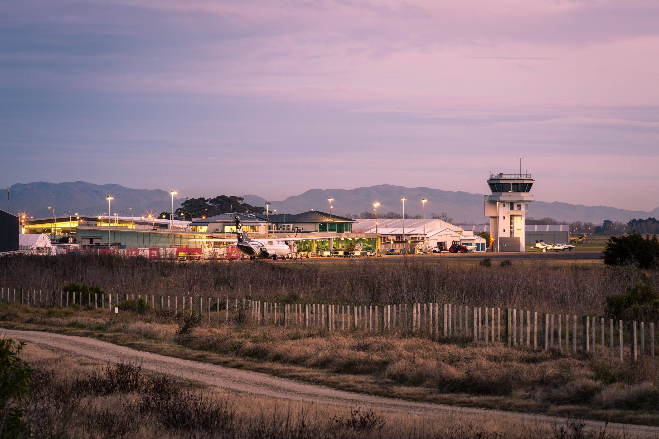 Hawke's Bay Airport at twilight