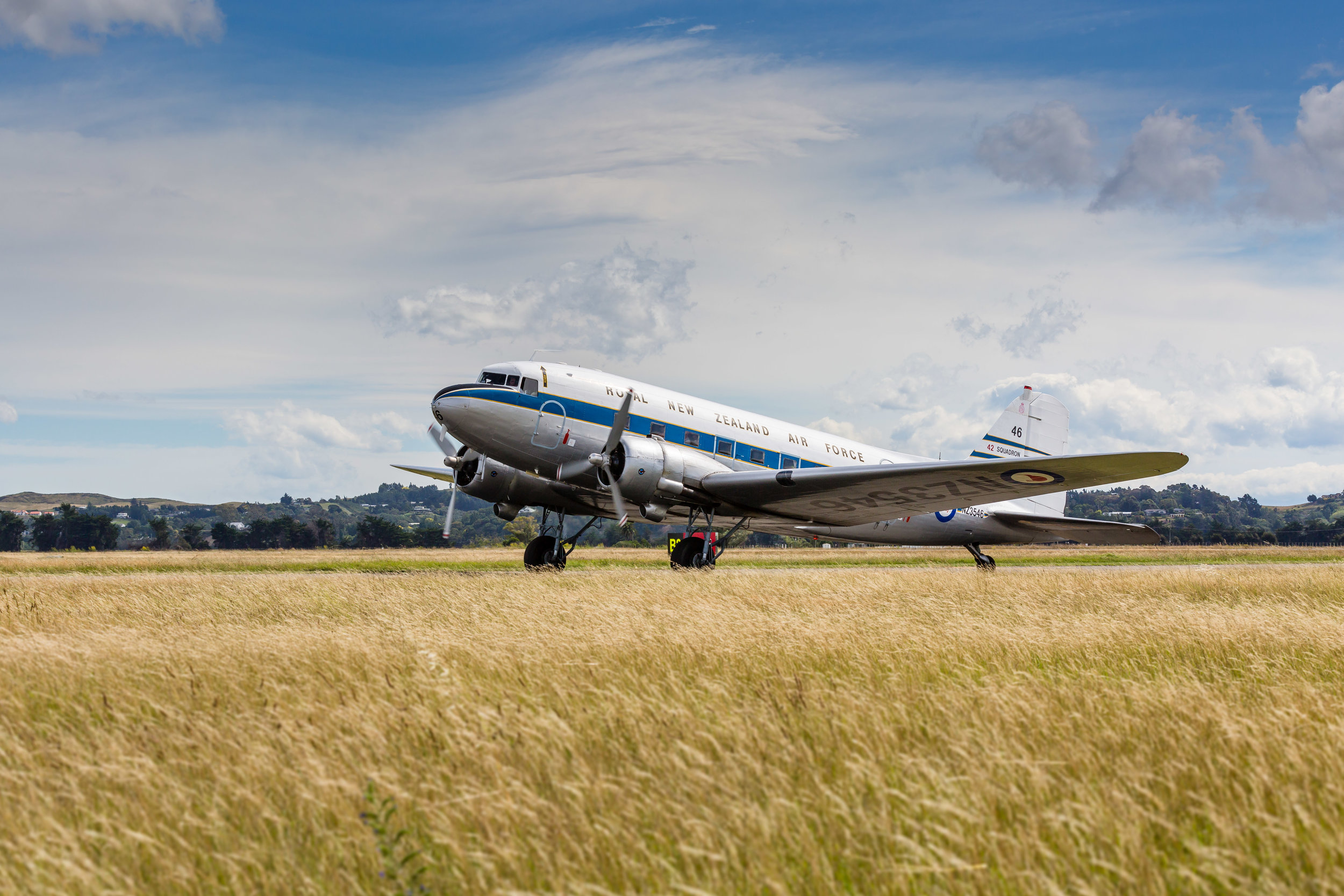 DC3 Aircraft taxiing from the runway