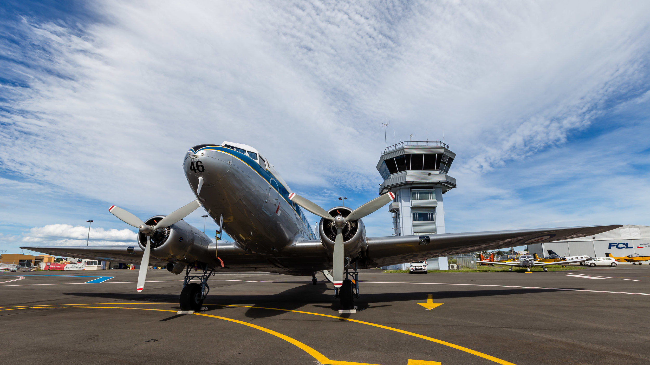 DC3 aircraft parked-up by the Napier Control Tower