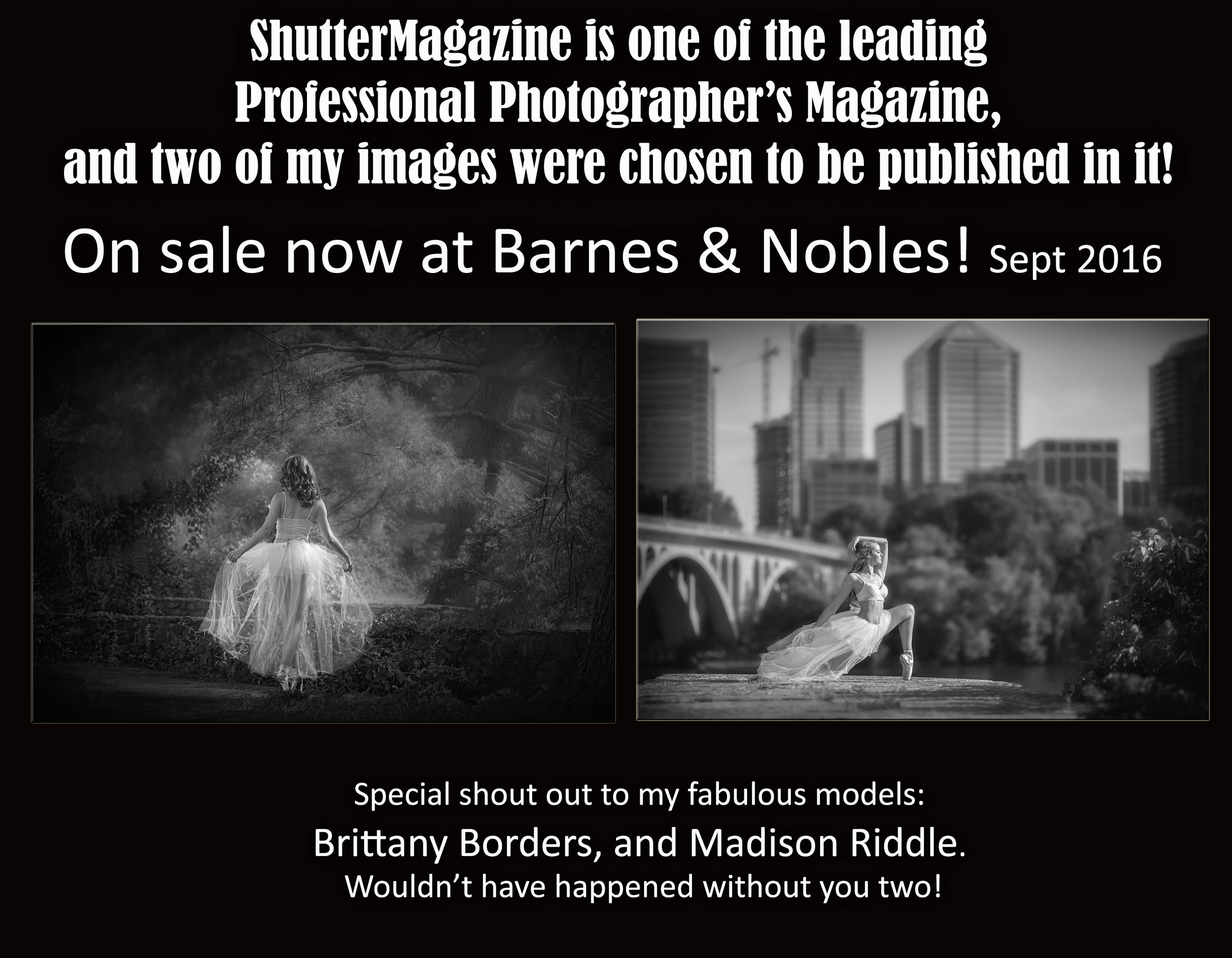 International Publication, Shutter Magazine Sept, 2016 Black & White issue. Two images selected!