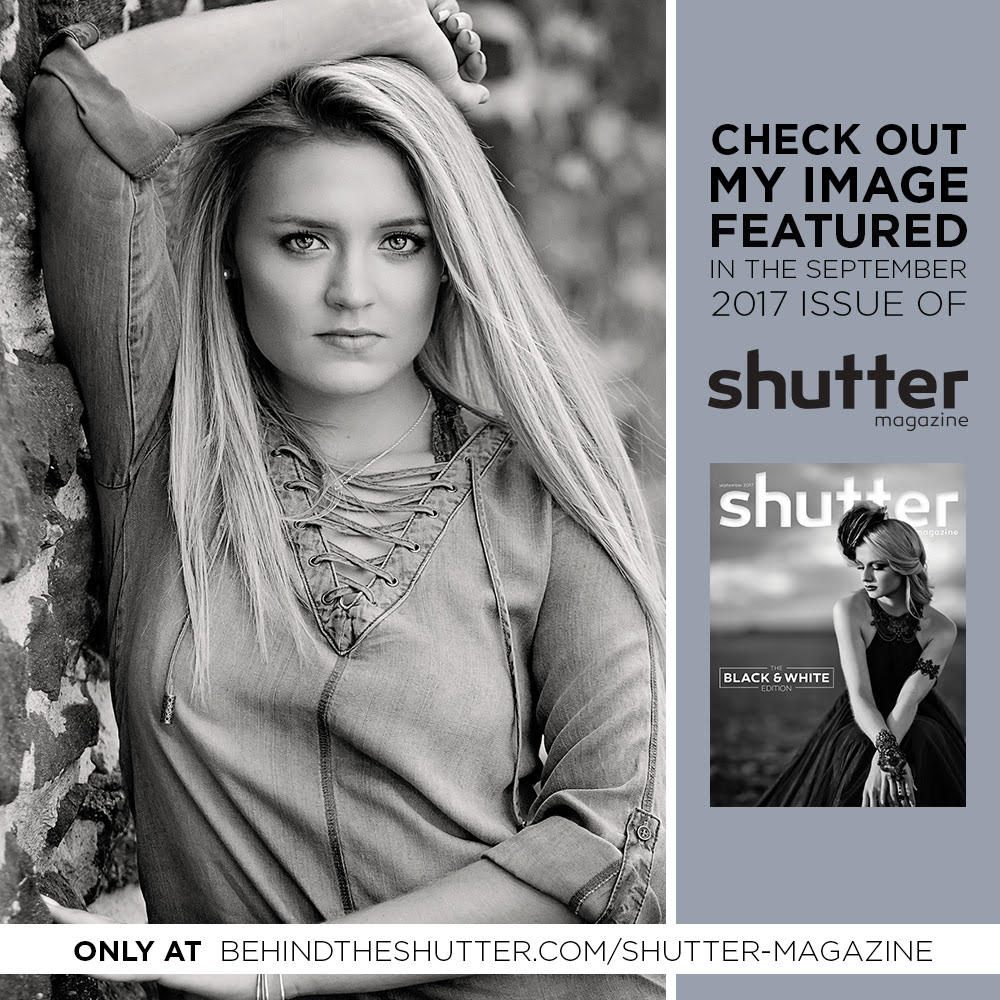 September, 2017 Issue of Shutter Magazine, Black & White issue! Rebecca Pullen, you are just stunningly beautiful!!