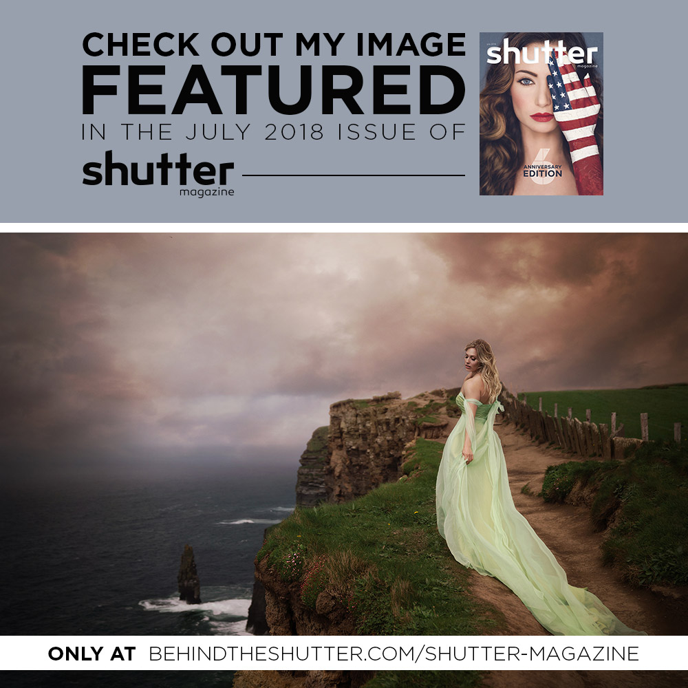 6th Annual Issue, featuring the best of the best images. How fortunate I was to have one of mine chosen! The beautiful Jessica rocked this shoot in Ireland! July, 2018