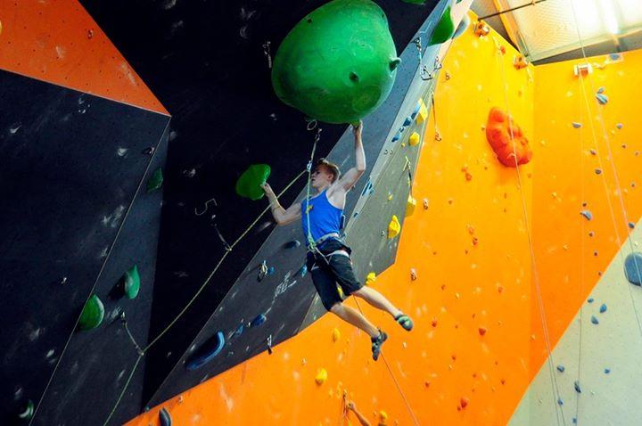 Austin Hansel gym climbing - Photo via Austin Hansel's Facebook Page
