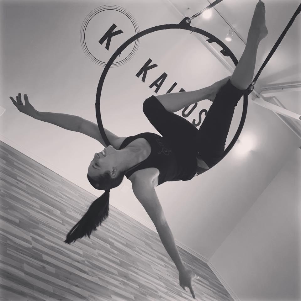 Erica Petty on hoop at Kairos Fitness