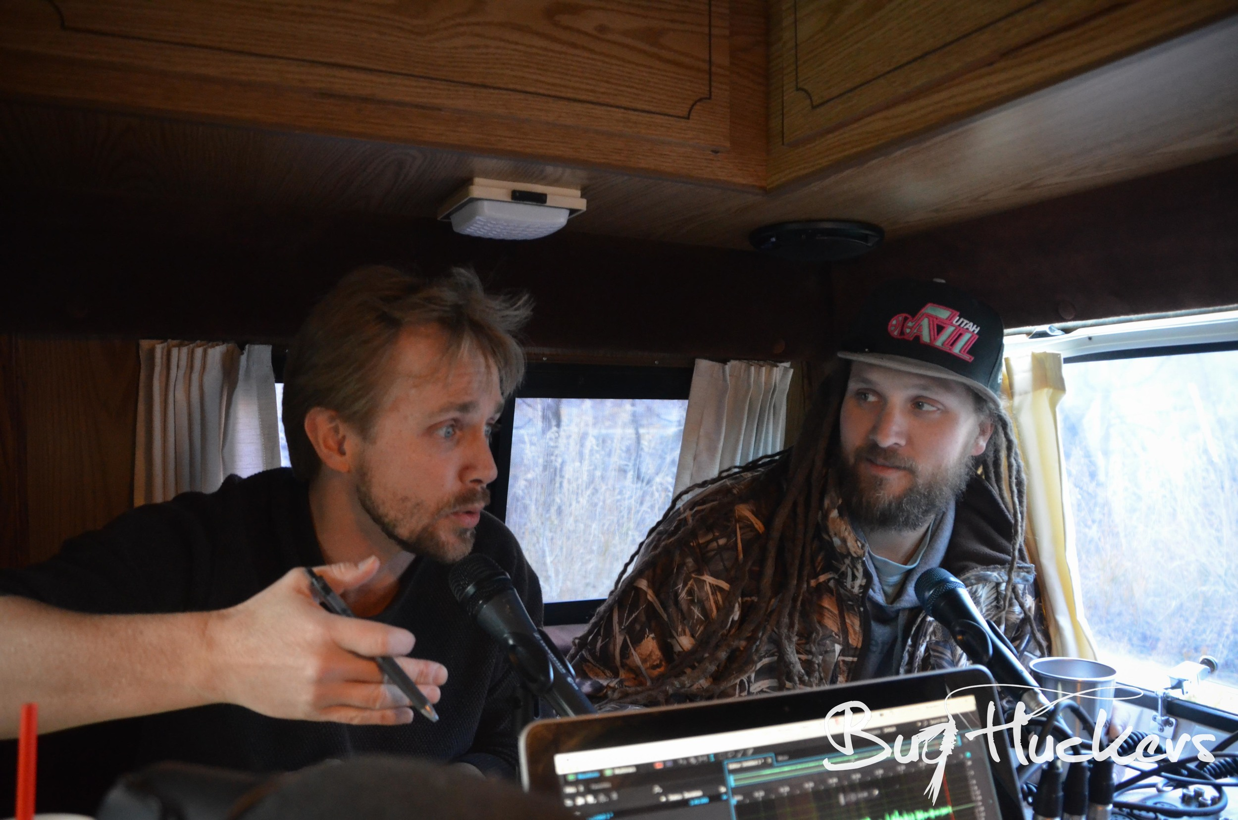Bug Huckers Hosts London & Danny Podcasting from the Tan Van on the Ogden River.