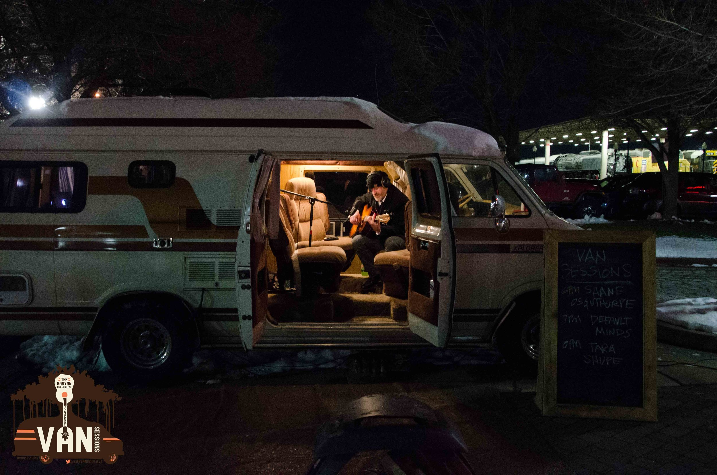 Snow on the Van and Ogden musician, Shane Osguthorpe warming up the crowd from within.