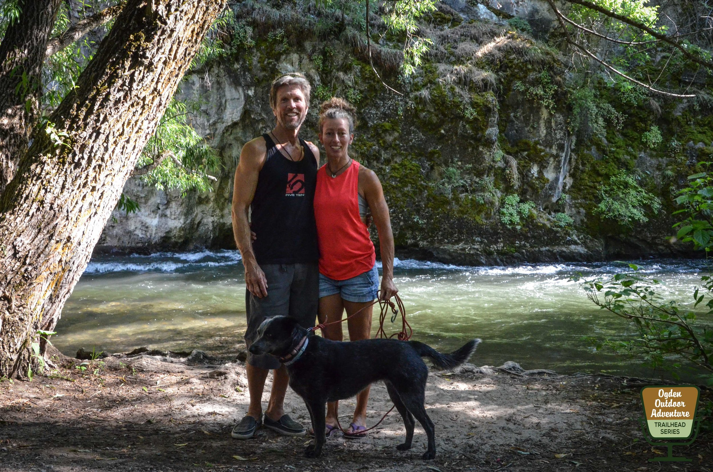 Chuck, Maggie & Lola Odette down by the river in Logan Canyon.