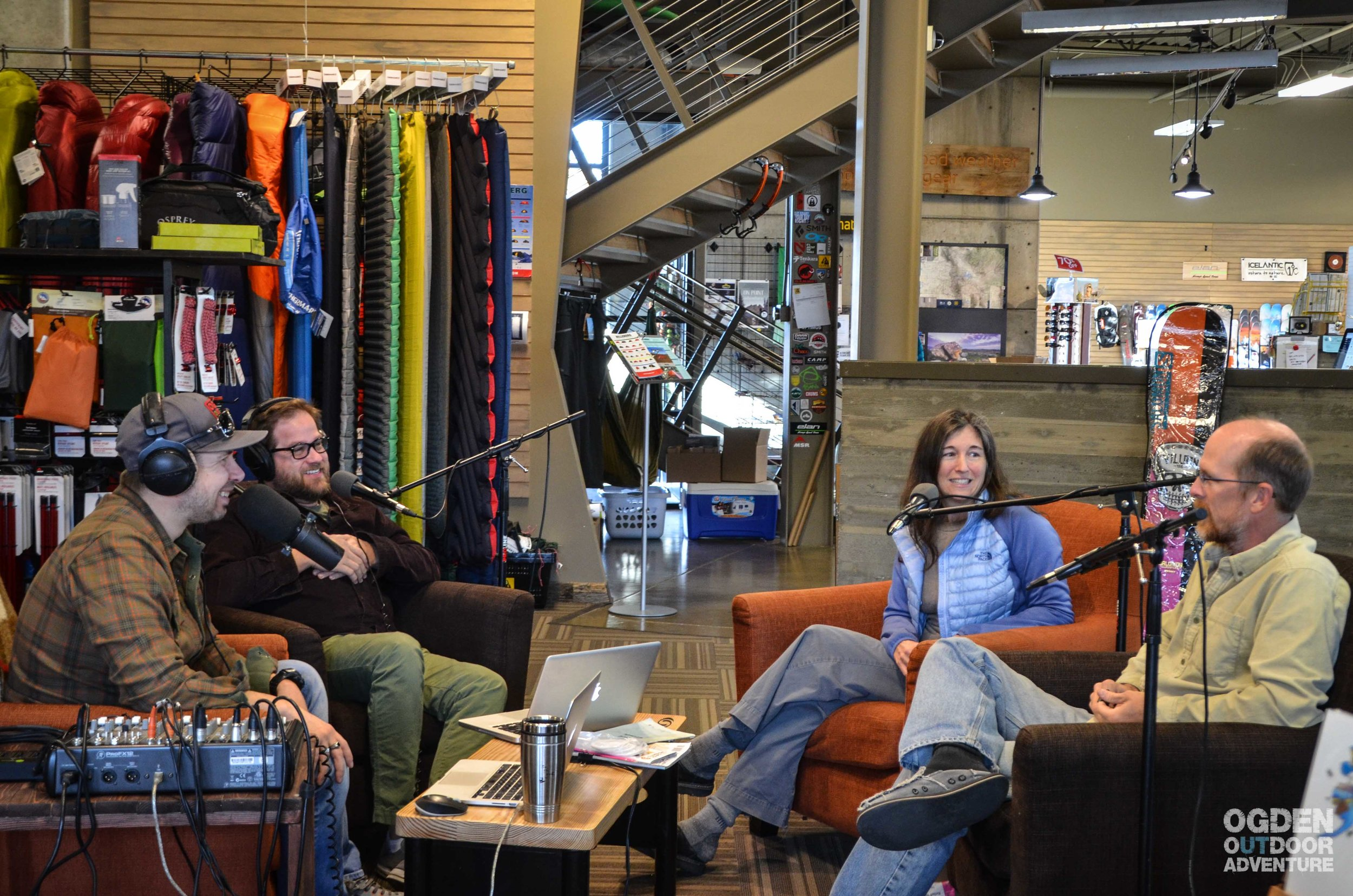 Podcasting at GEAR:30 with guests Rick Momsen & Stefani Dawn of Climb-On Maps