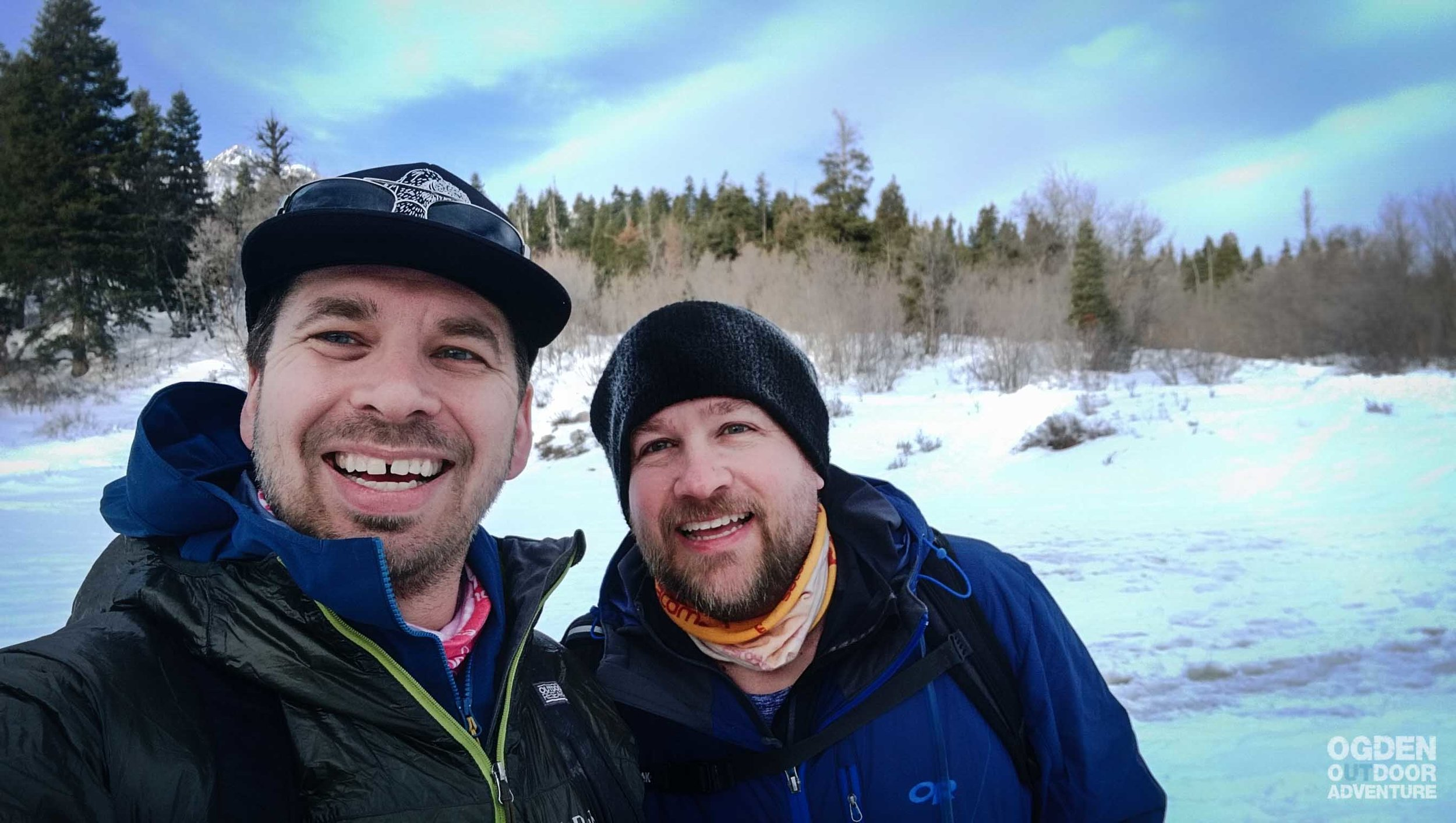 A couple of strapping young men snowshoeing Green Pond.