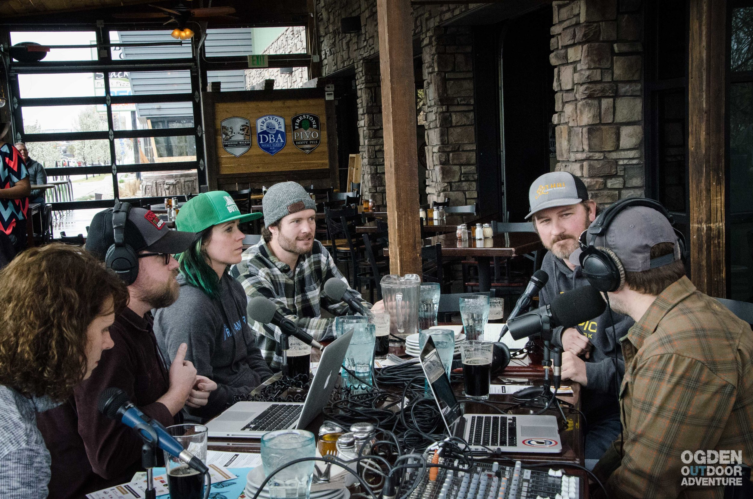 Podcasting down by the river at Slackwater Pizzeria.