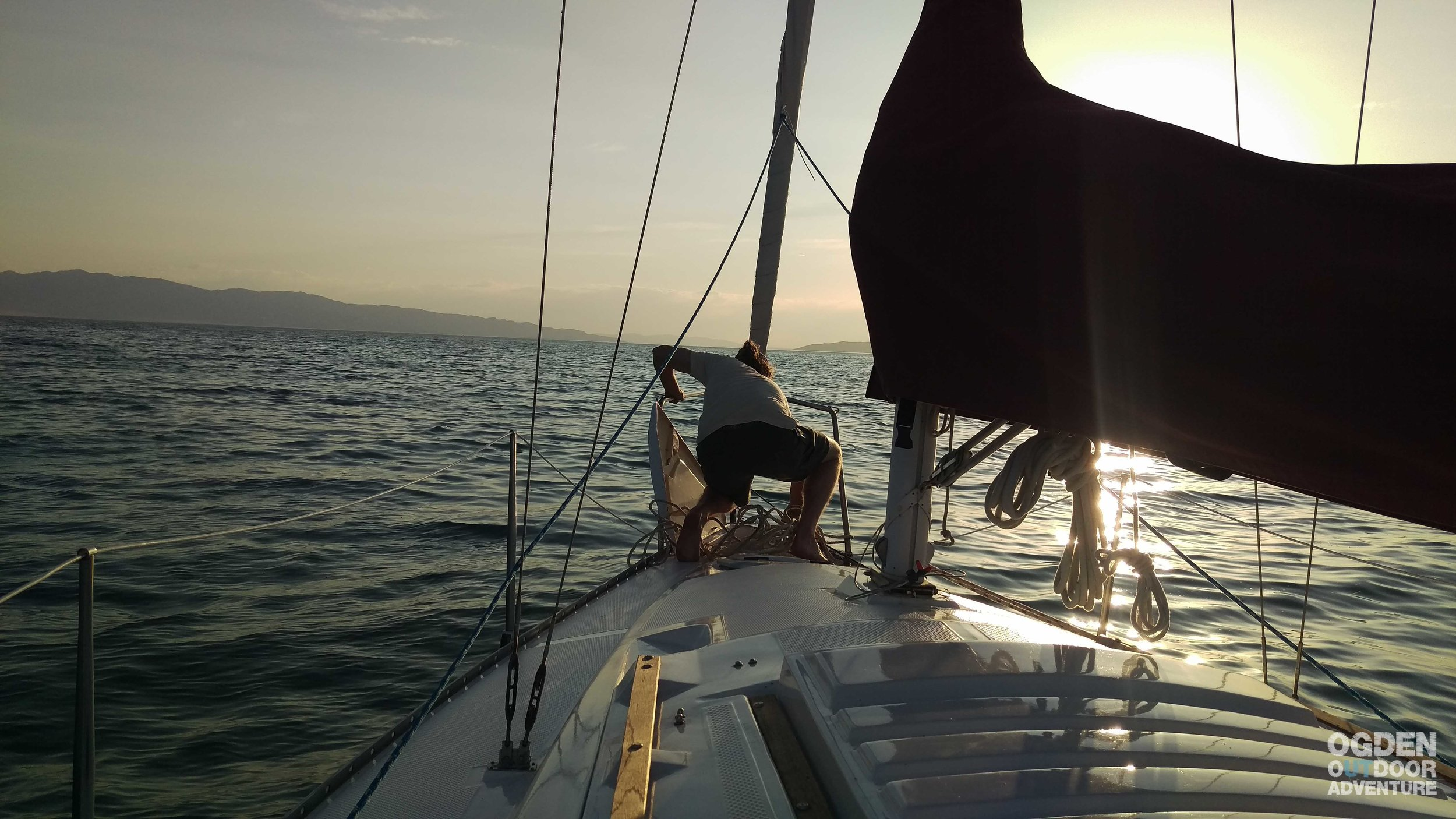 Chase dropping anchor on the Great Salt Lake.