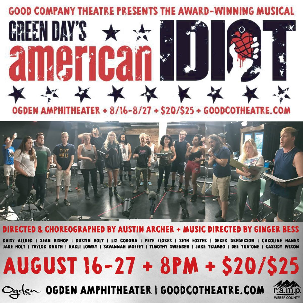 Full cast of Good Company Theater's production of Green Day's American Idiot during their private rehearsal performance for the Nine Rails Arts Podcast.