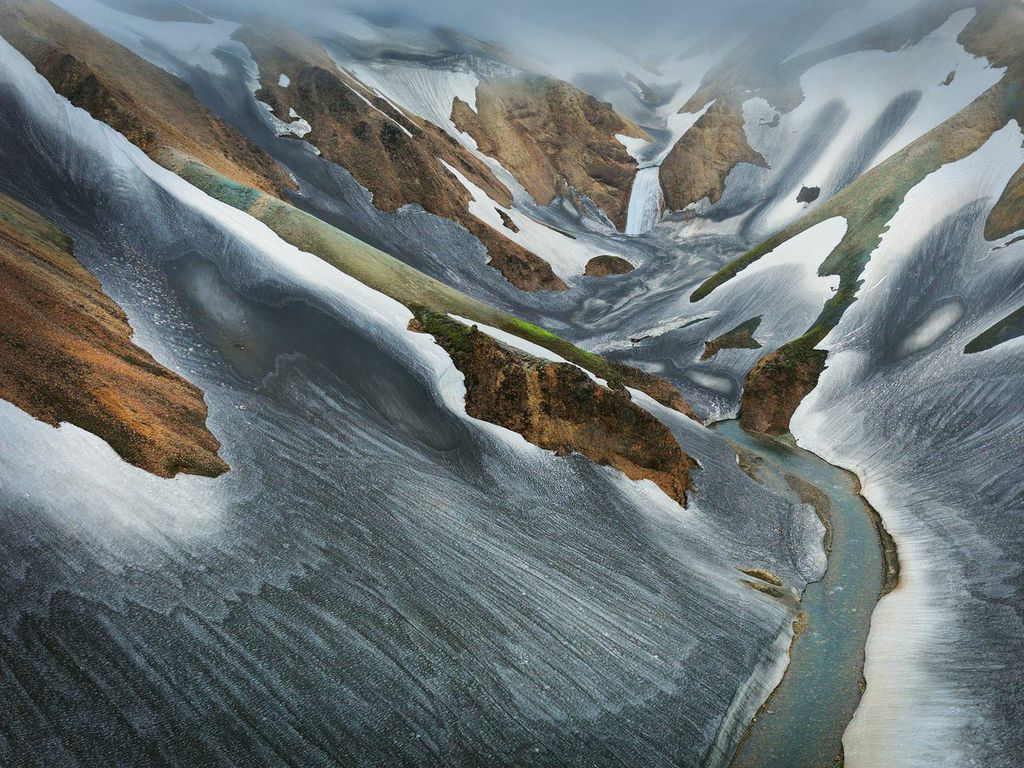 Landmannalaugar, central highlands of Iceland, shot - I believe - from a helicopter. Image © Hans Strand