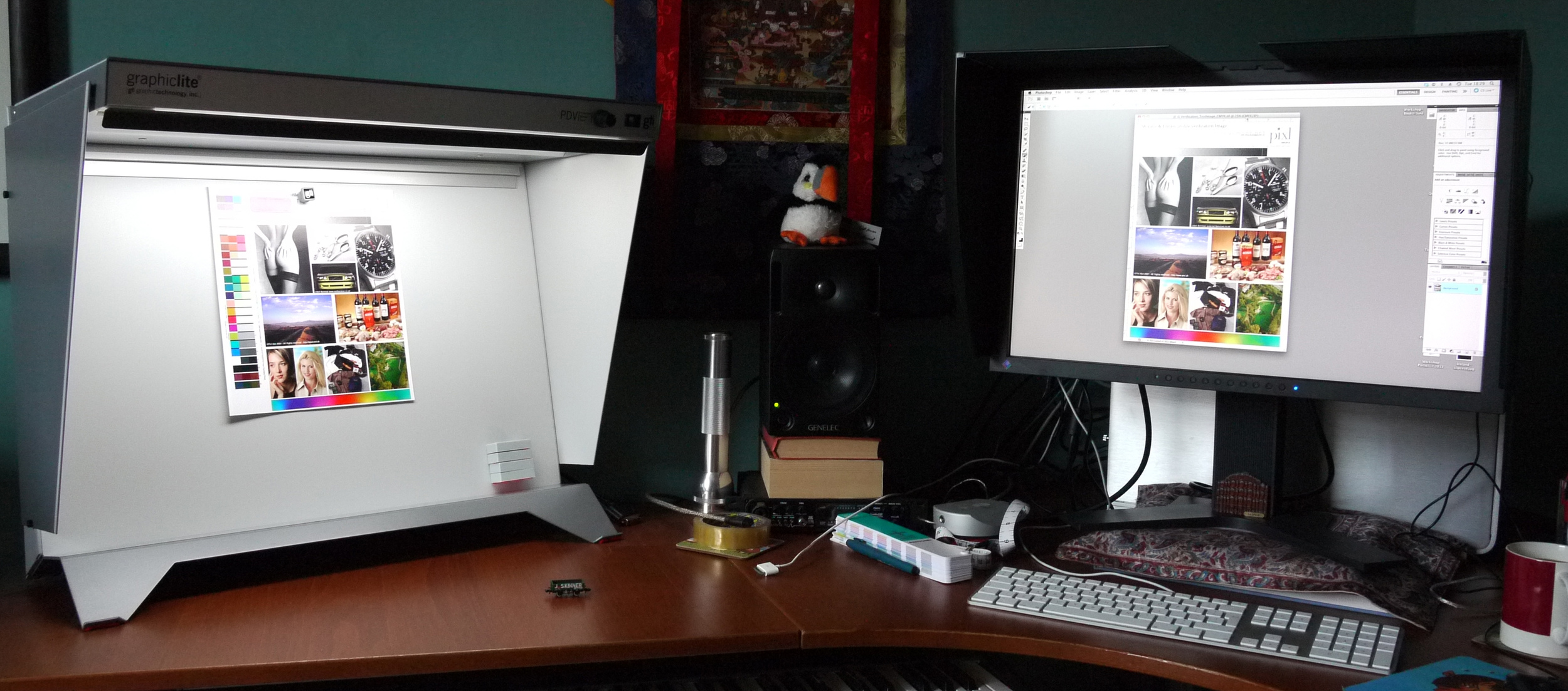 For essential colour accuracy, one must use a daylight viewing booth to confirm the profiling of your monitor. If the print target does not match the monitor - then the calibration / profiling is off. You also need to have a torch and an Icelandic Puffin in your studio too :-)