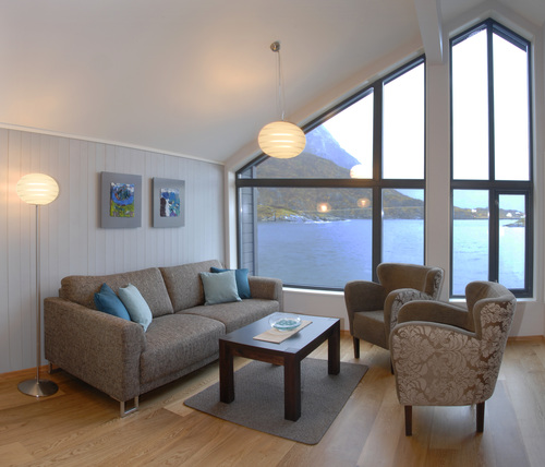 Single room / ensuite occupancy of two room apartment. You will share a sitting room like this with one other participant, overlooking a beautiful bay on the island of Senja.