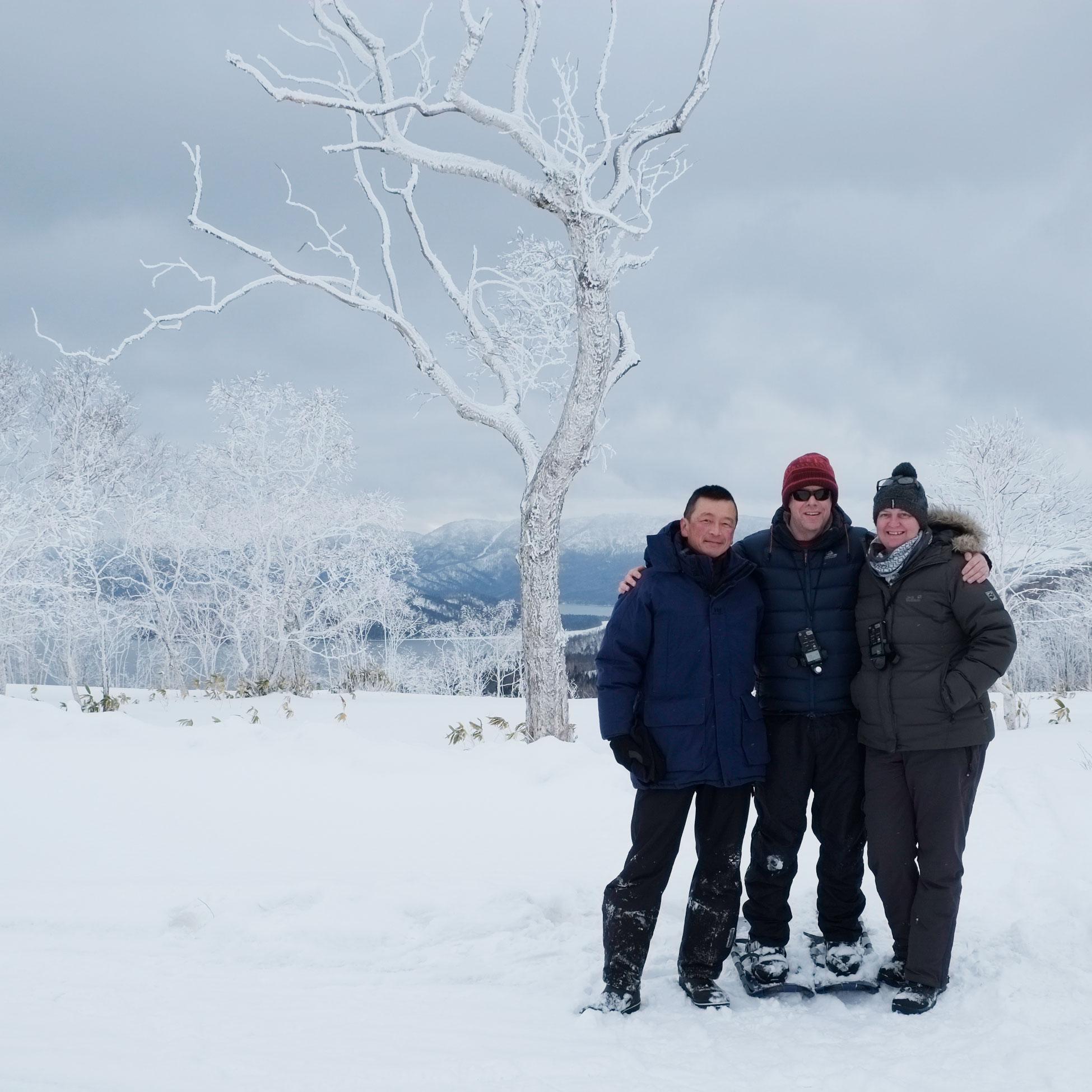 With my friends in Hokkaido.