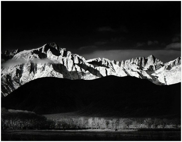 'Winter sunrise from lone pine', the achingly beautiful image with wondrous print interpretation by Ansel Adams Image © Ansel Adams