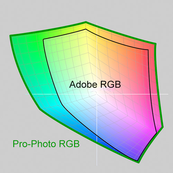 A not too accurate illustration to show that Pro Photo is a larger colourspace than Adobe RGB. You should open your RAW files in Pro Photo.
