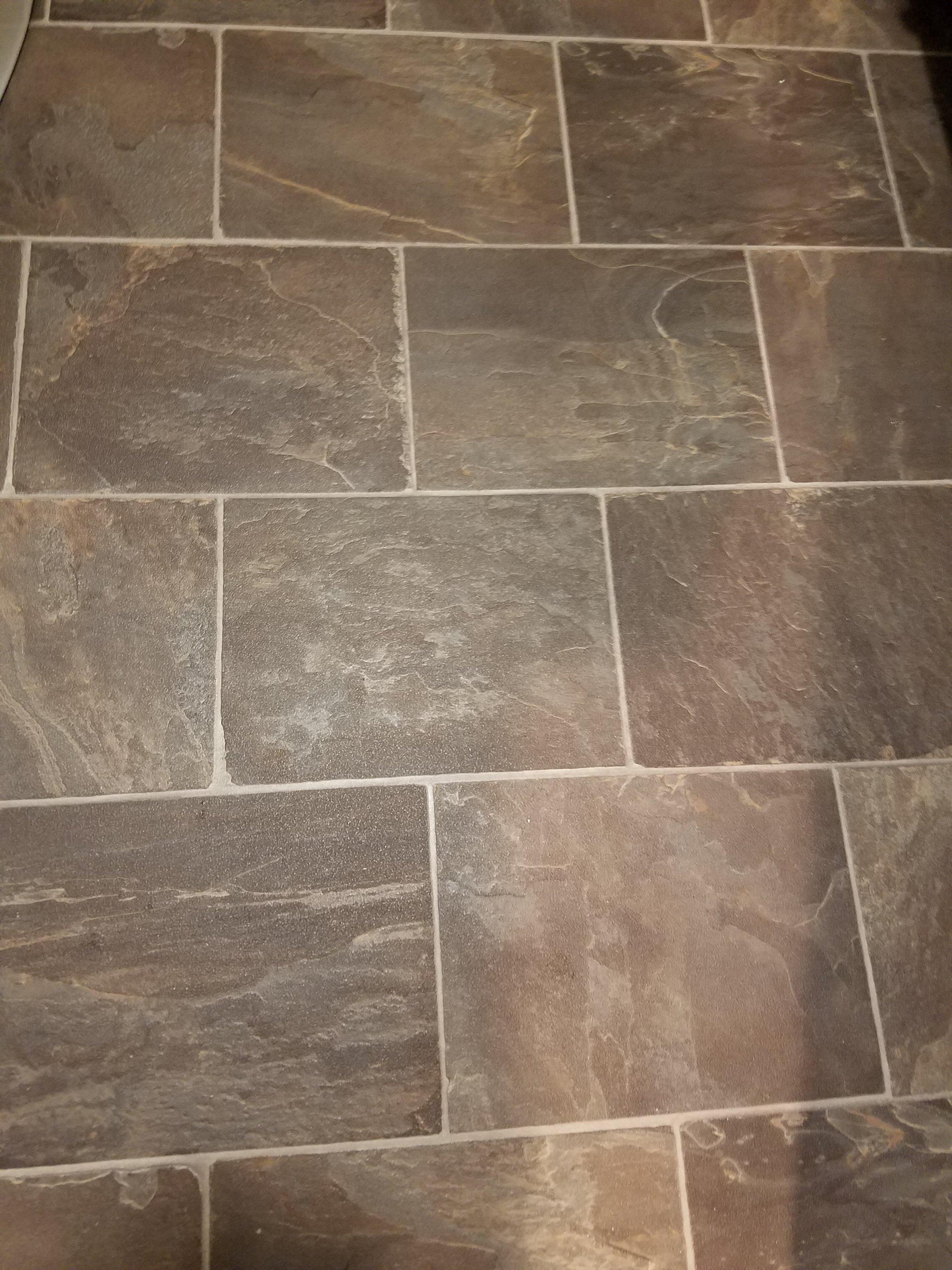 Vinyl flooring installed in a powder room