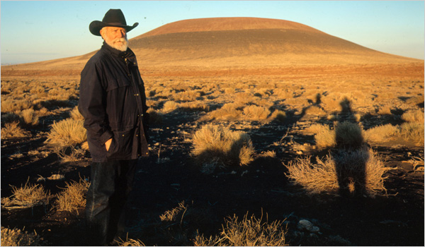 James Turrell in front of Roden Crater