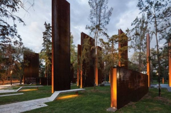 This is the Memorial to Victims of Violence in Mexico, by Gaeta Springall Architects. It uses a 70 different steel structures, water, and trees to exemplify people who have lost their lives from violence, and the people who have survived to tell the tale.  *Click the image for the full story