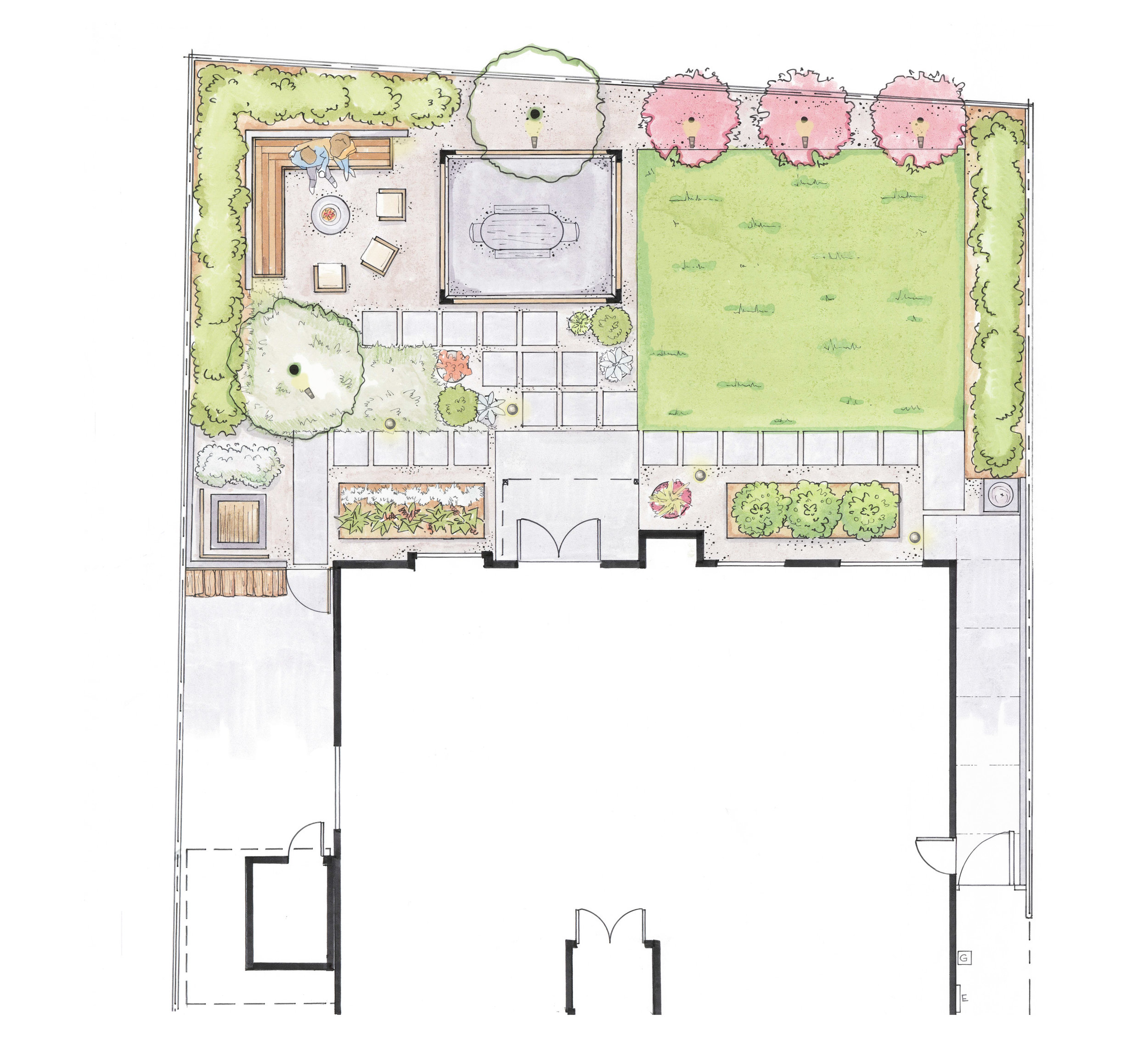 Our new project in Encinitas, California proposes an alfresco dining area not attached to the house and near a fire pit to encourage people out into the landscape.