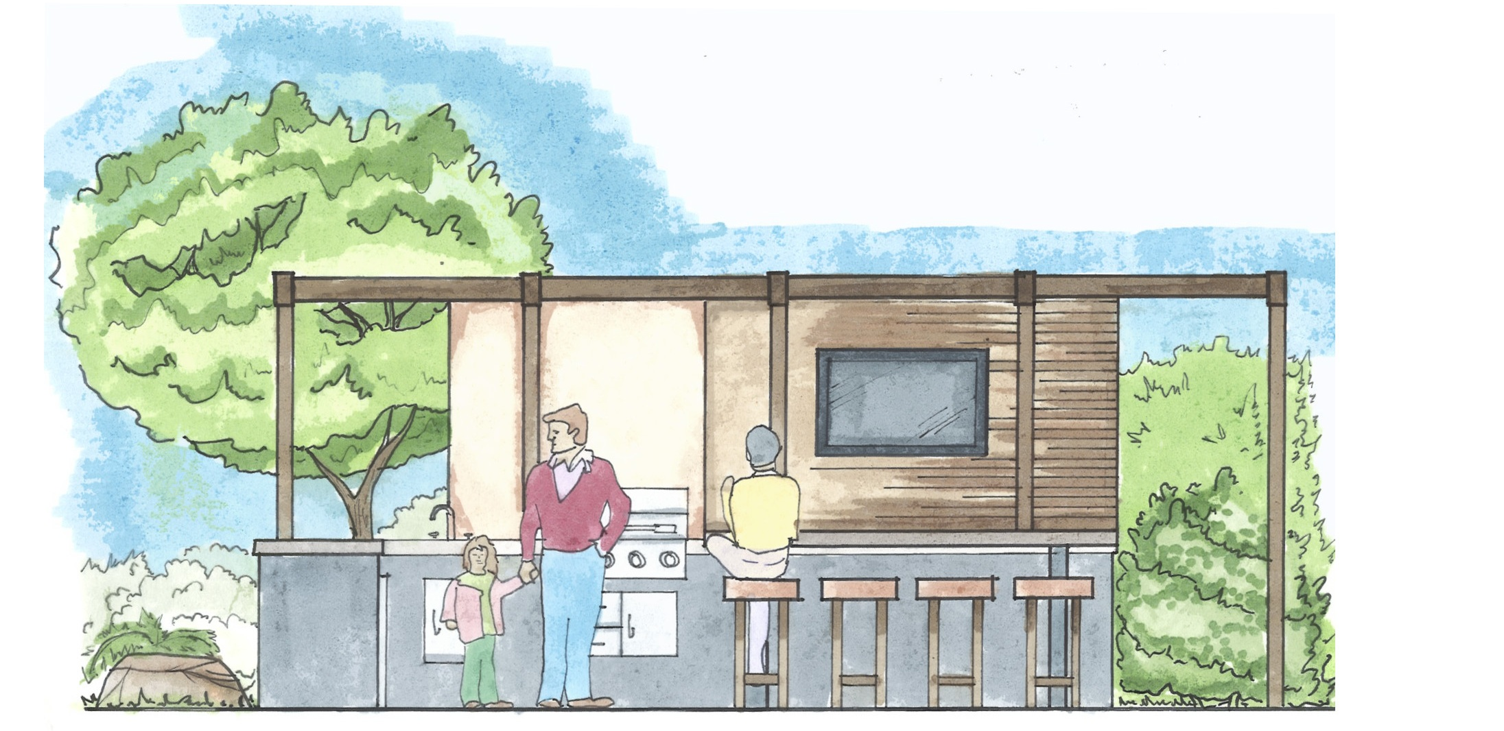 Another new project in Carlsbad, California proposes an alfresco entertainment area that will draw the crowd out towards the rear of the yard.