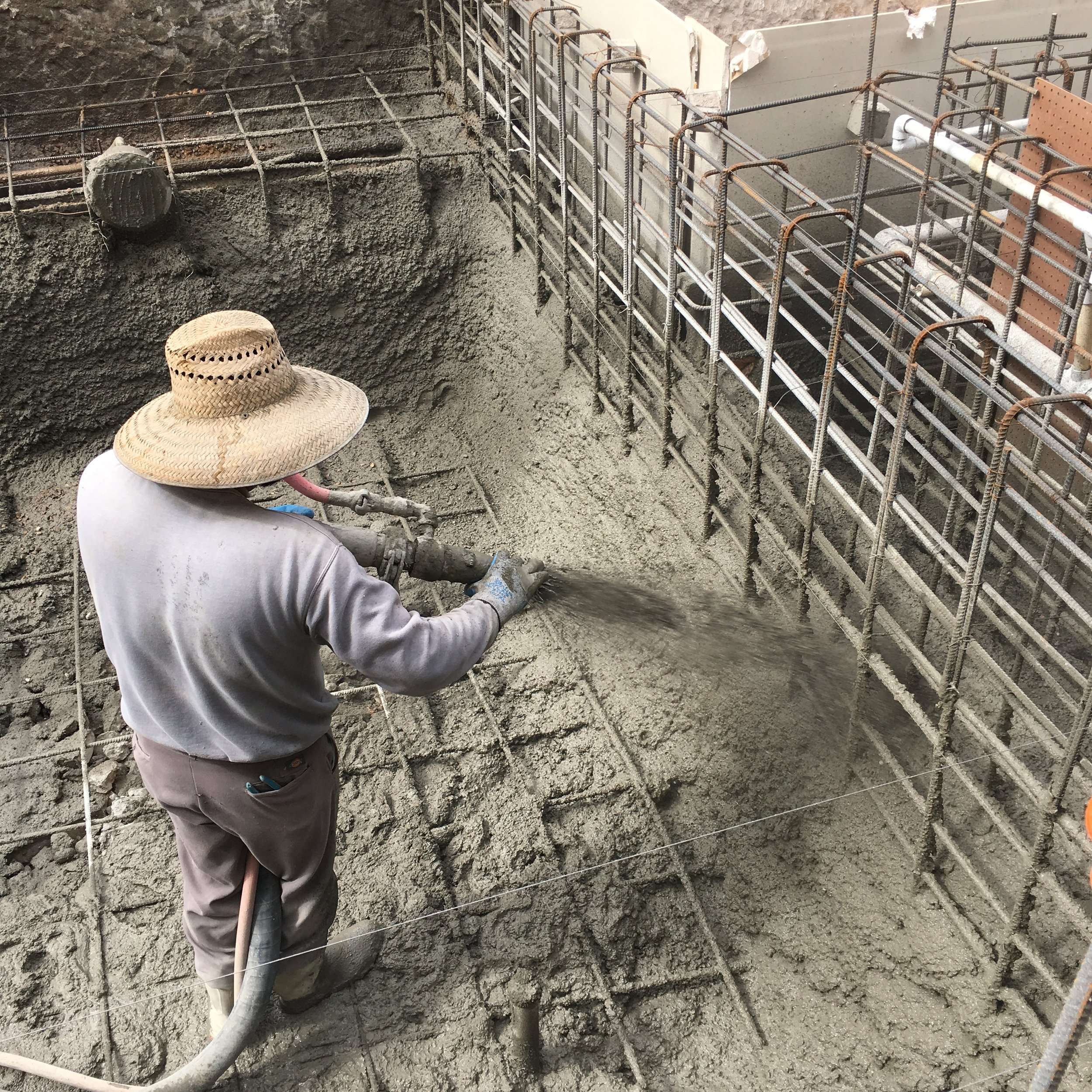 This is the typical procedure when constructing a shotcrete pool. Shotcrete refers to the premixed, wet concrete that gets shot out of a hose.
