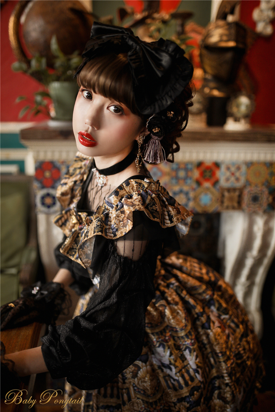 Babyponytail_Model_Ruffle Collar JSK_Black Present Angel_Kaka_16.jpg