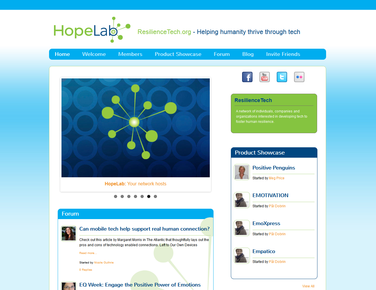 HopeLab Resilience Tech - Ning platform with brand mirroring