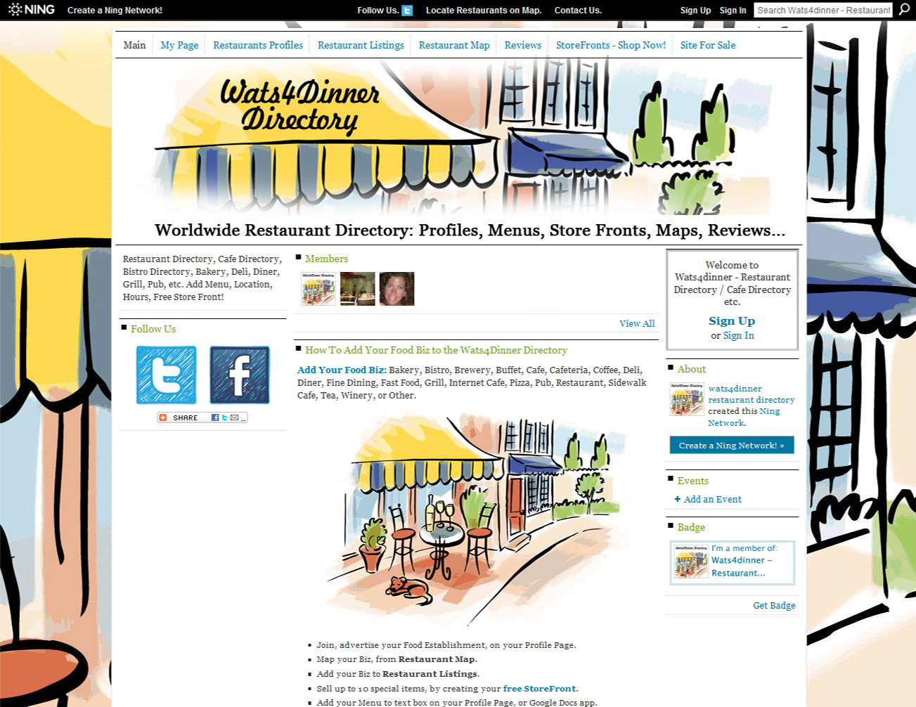 Wats4Dinner Directory - Ning platform