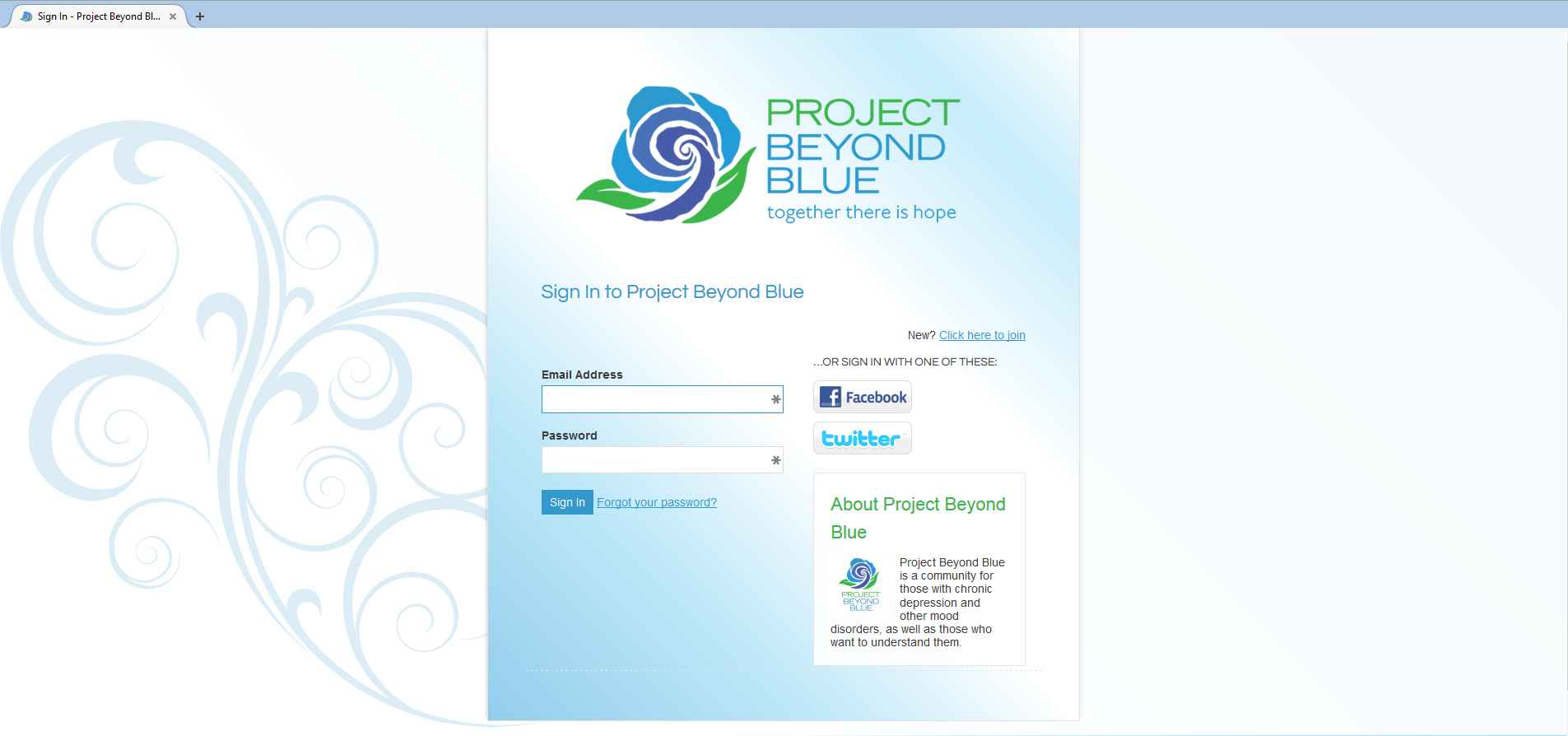 Project Beyond Blue Sign-In / Sign-Up Page