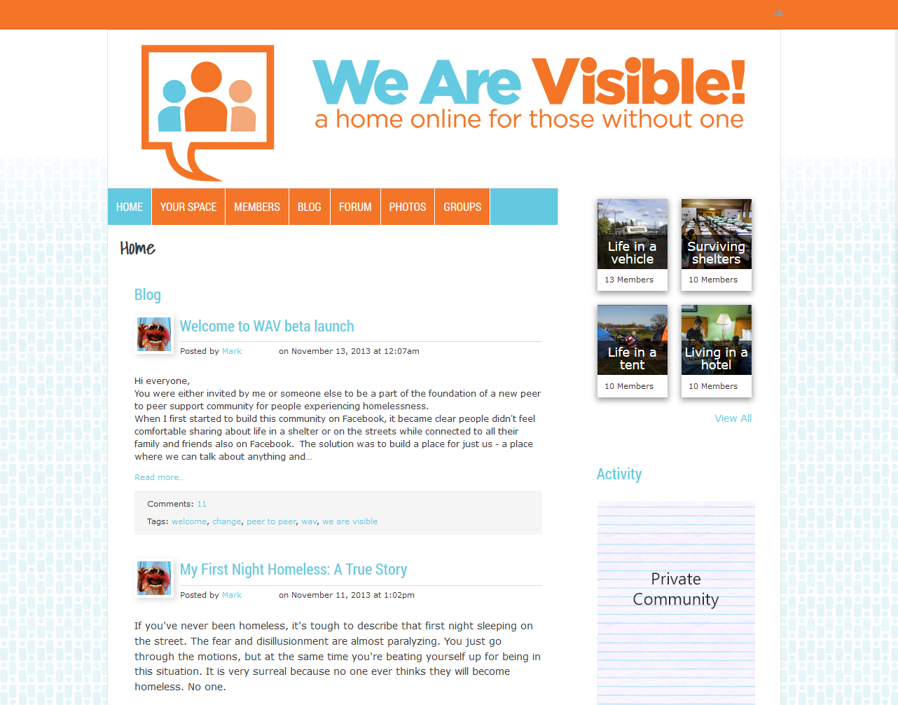 We Are Visible - Ning 3.0 Design