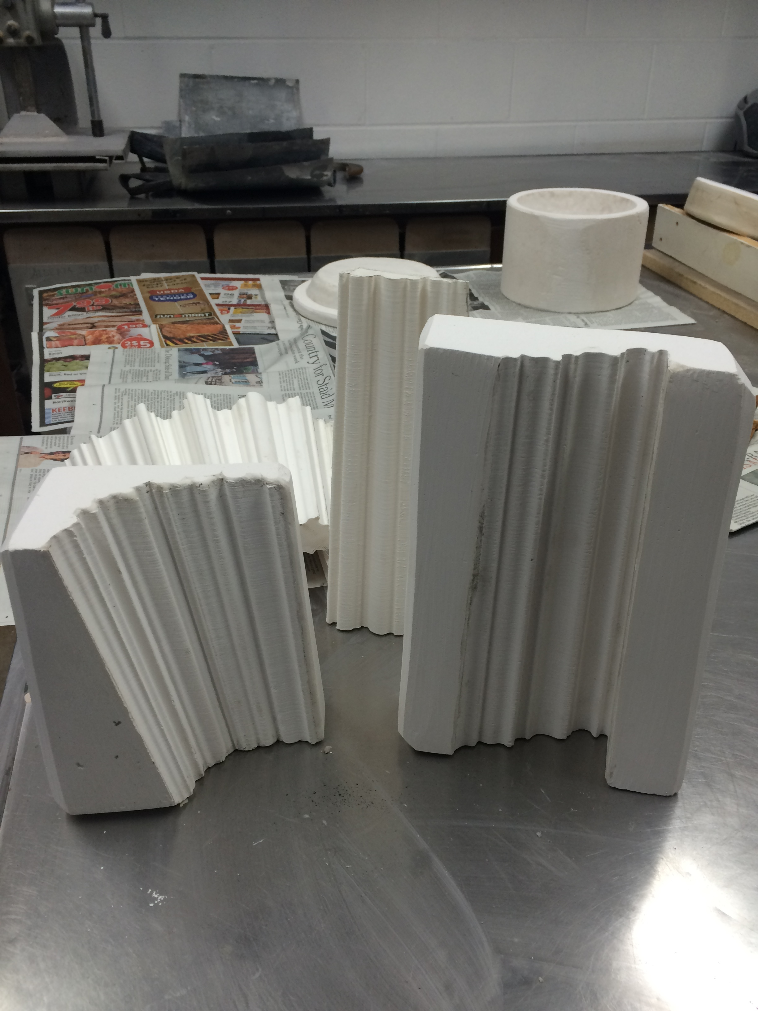 Plaster press-molds taken from 3D prints