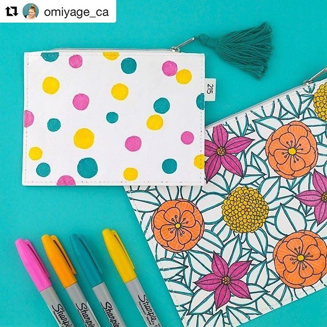 Love this post from Marisa @omiyage_ca ... so fun! . . . #pouch #doodle #sharpie #colour.  #Repost @omiyage_ca with @repostapp ・・・ One of my favourite projects of 2016... @too_fifteen pouches + @sharpie = doodle magic!