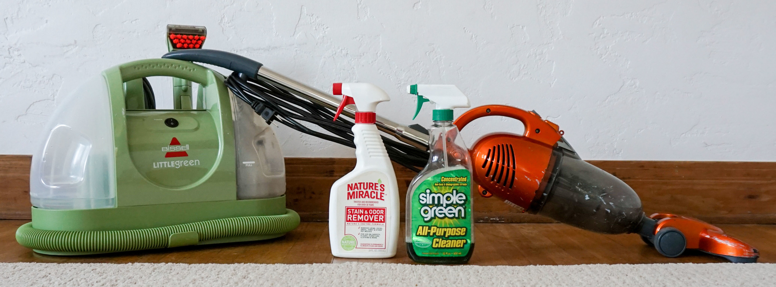 Kick it up a notch with a mist of Simple Green or Nature's Miracle (for pets) to get carpets squeekin' clean.