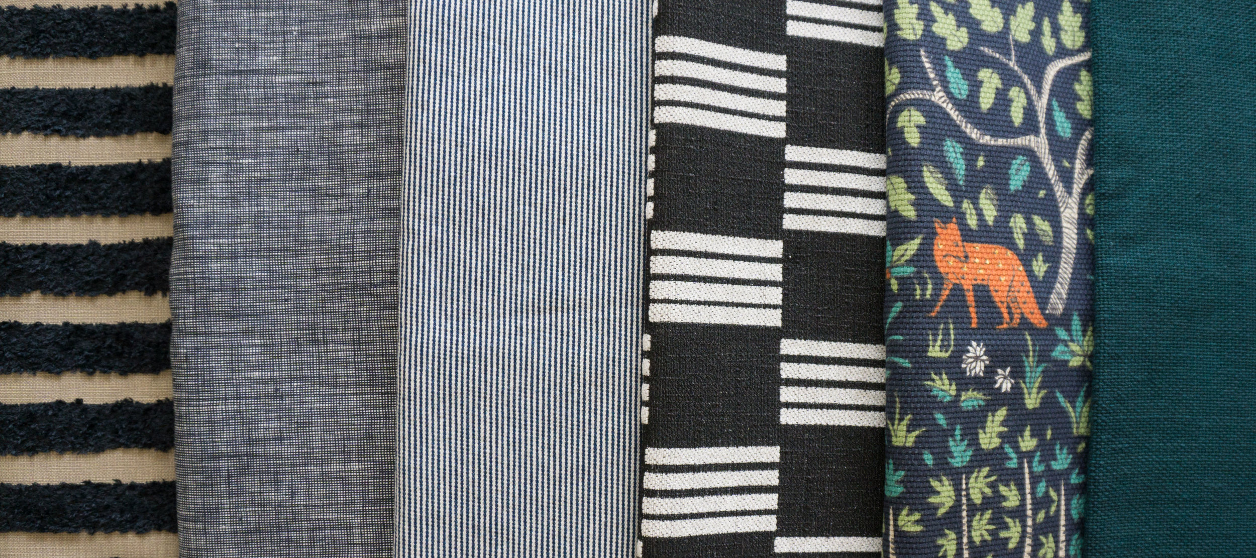 Hard to tell the content of each fabric huh? From left to right: 100% polyester fuzz stripe, 100% linen, 100% cotton stripe denim, 100% polyester brocade, 100% cotton fox print, ramie/linen solid weave.