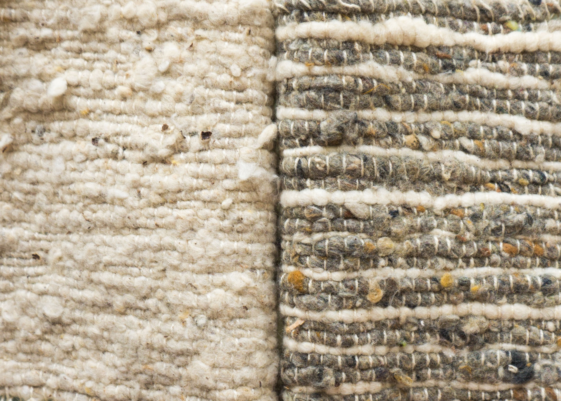 Natural wool is costly, so synthetics like acrylic and polyester are used to bulk up hand woven looks like this.