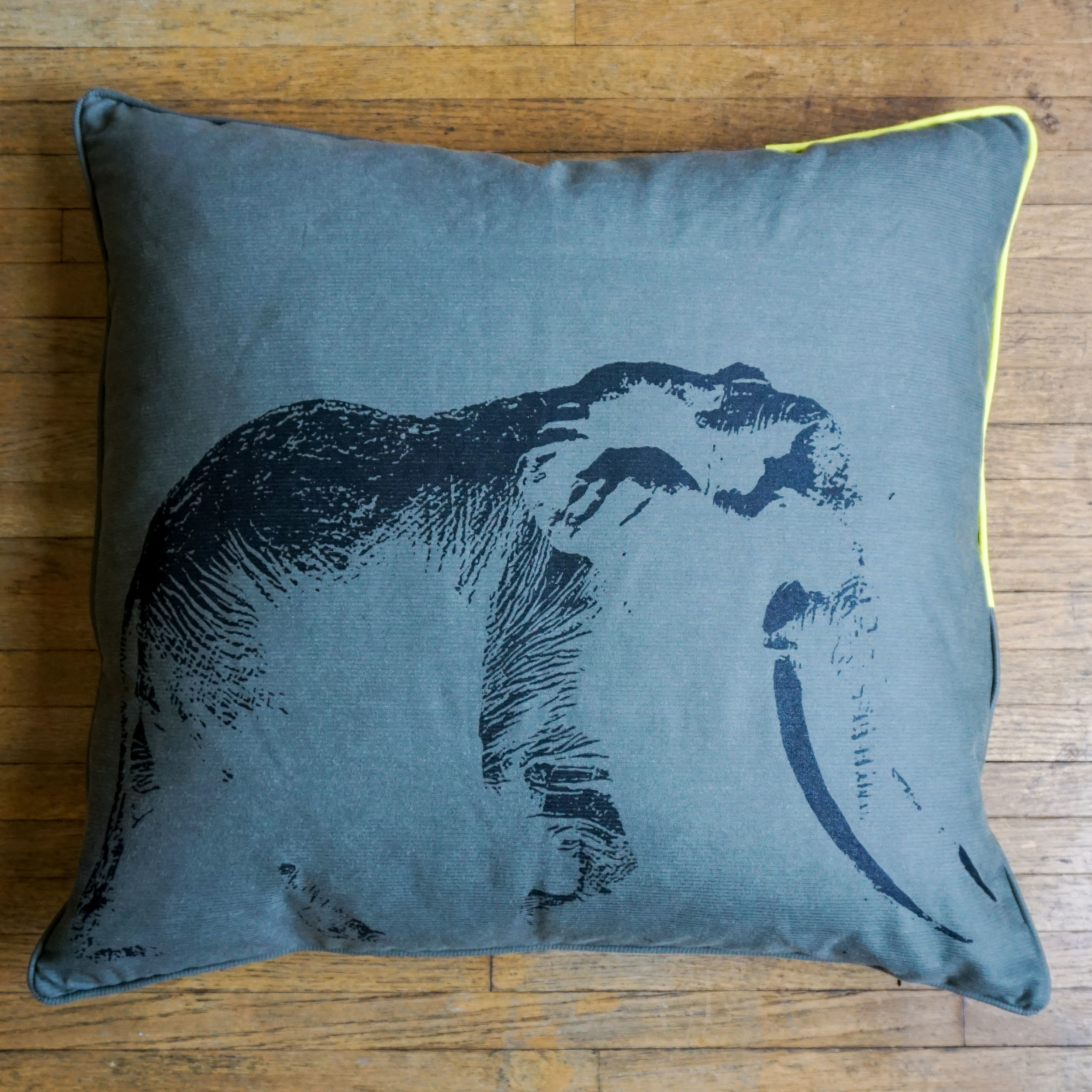 Ghost of Satao Pillow is feather filled.  Click through above to view and learn more about the materials.
