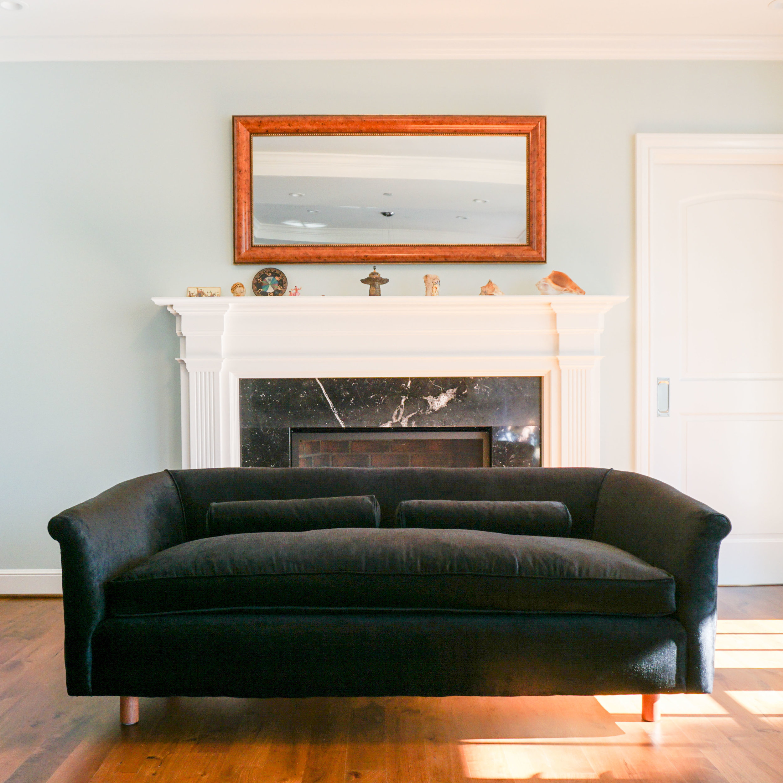 """Client's custom black velvet couch, 71""""W x 31 1/2"""" D x 25"""" H.   Click through to view all Custom Made styles."""