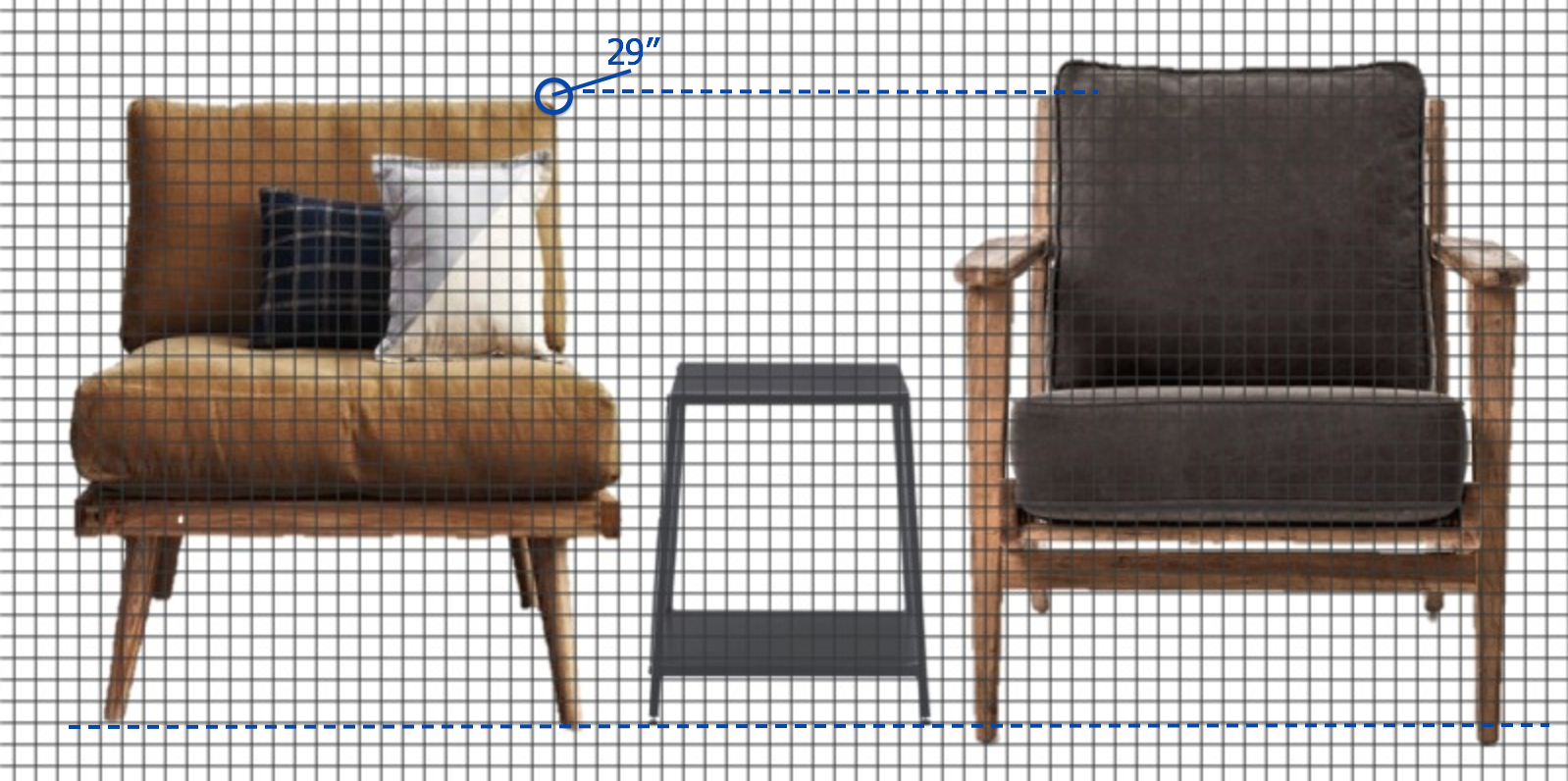 I scaled the chair she wanted (left) to match the scale to the chair she already owned (right). BELOW, my scale drawing for the frame builder.