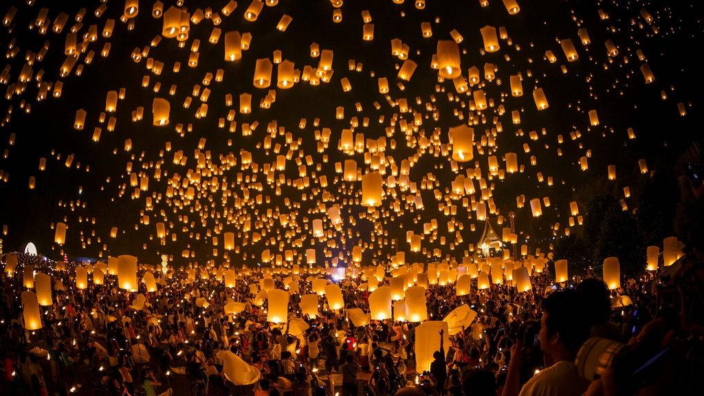night sky lanterns desktop wallpaper