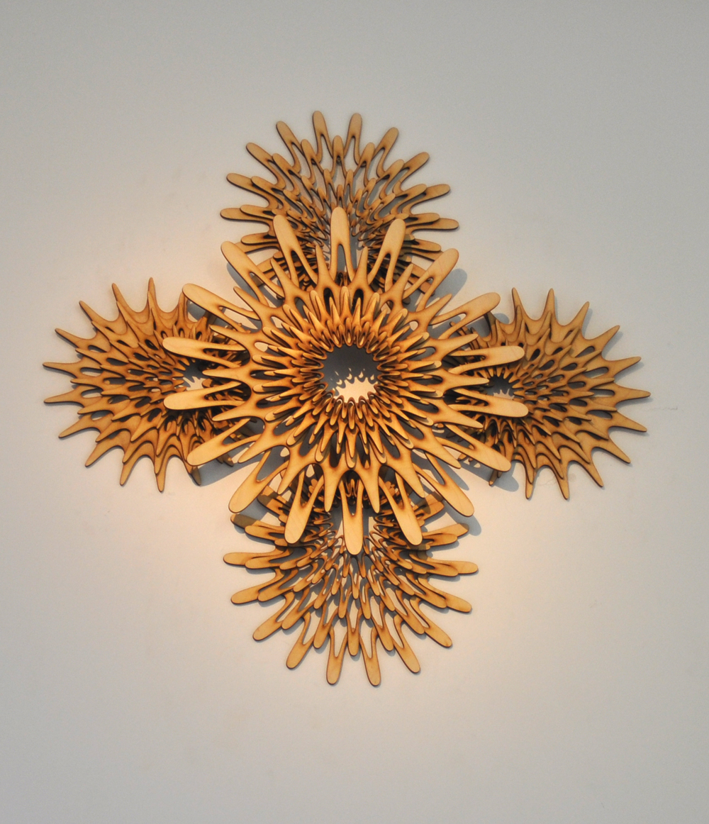 "See Fan 02; 2014; stained wood; 24"" x 24"". Private Collection, Los Angeles, CA"