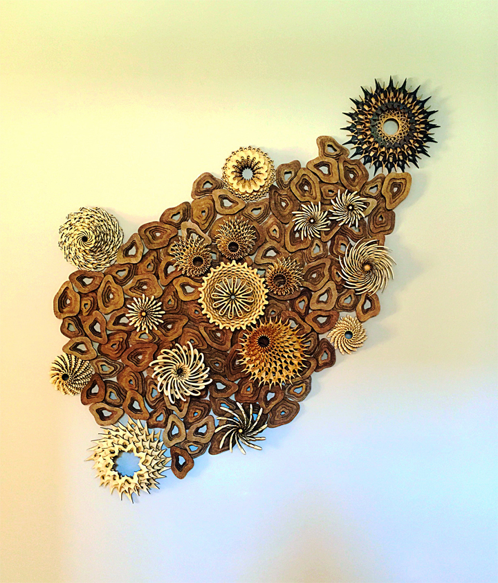 """Mini Reef 03 , 2015; 35""""x 30""""; stained and unstained wood. Private Collection, Santa Monica, CA"""