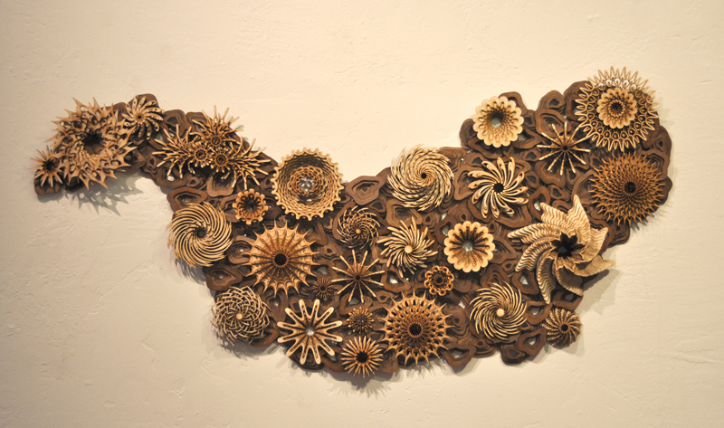 "Mini Reef 04 ; 2015; 24"" x 50"", stained and unstained wood. Private collection, Montecito, CA"